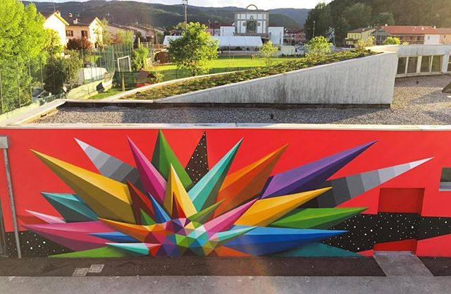 New mural by @okudart in Vicenzo, Italy// #powwowworcester #streetart