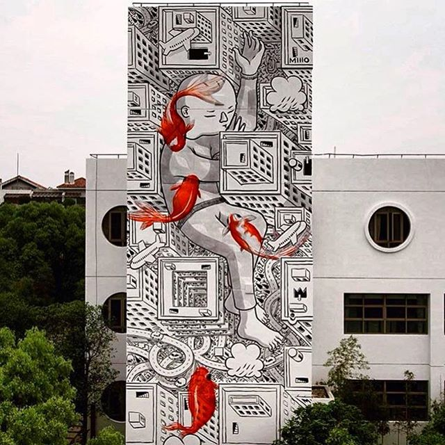 New mural by @_millo_ in Shanghai, China// photo by @streetartnews  #powwowworcester #streetart