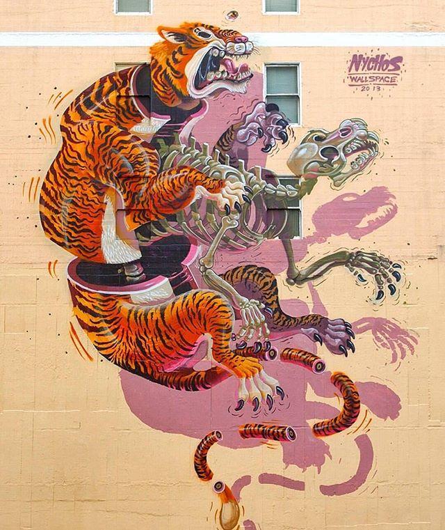 Mural by @nychos in San Francisco,CA// #powwowworcester #streetart
