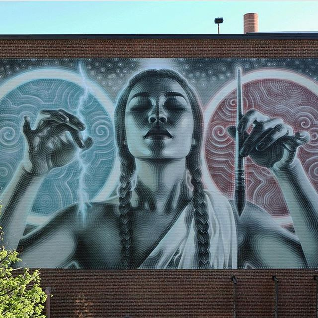 Mural by @mac_arte in Boston, MA// photo by @toddmazer// #powwowworcester #StreetArt