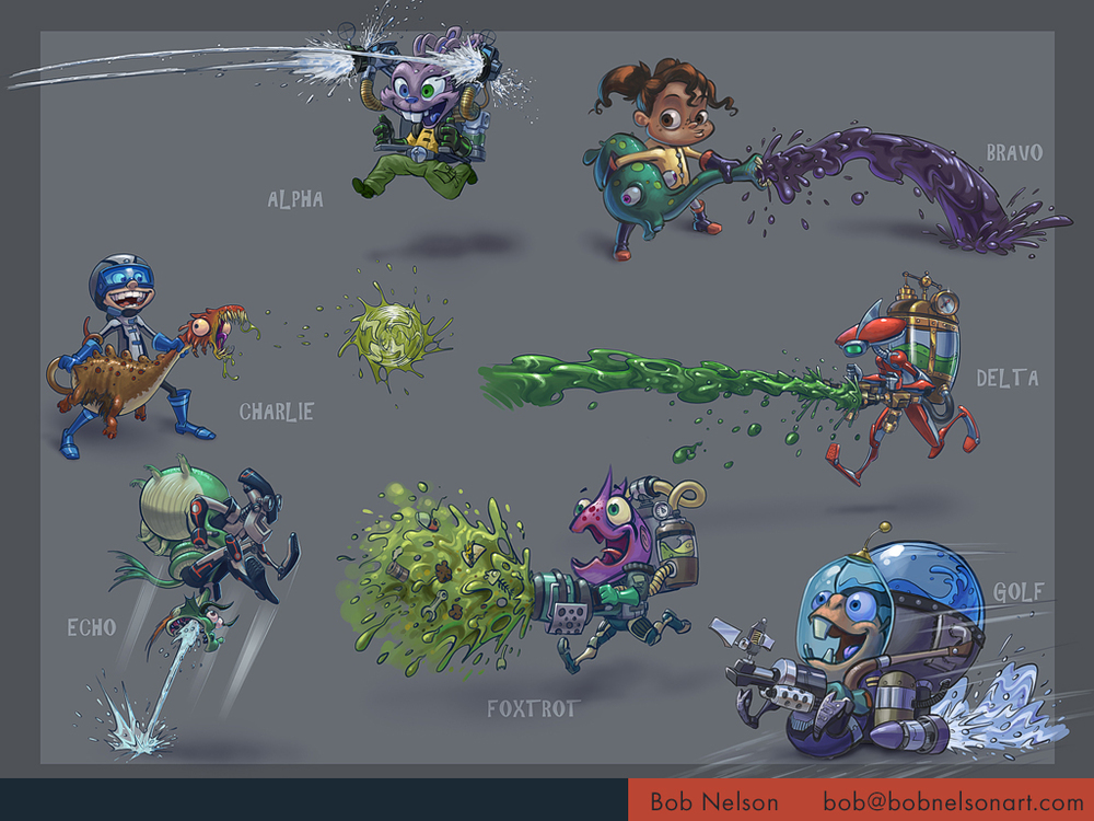 Characters for a multiplayer team shooter for kids using water and paint