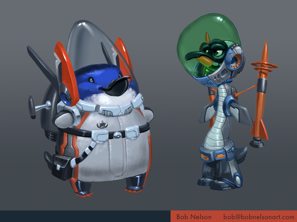 Space penguin designs