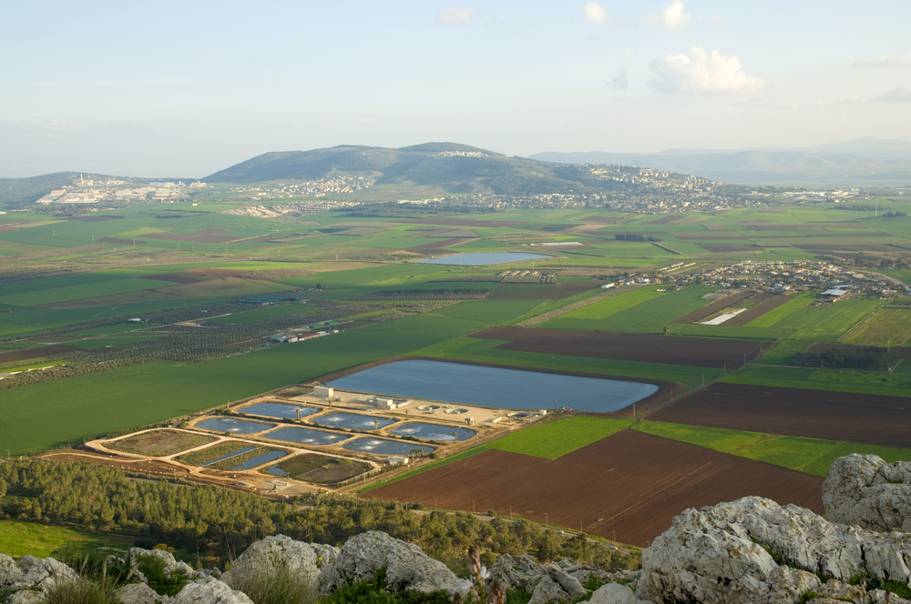 View of the Valley of Jezreel, fields and fishponds