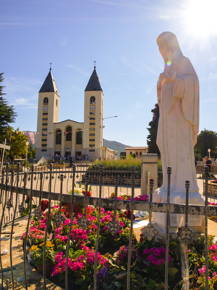 Church and statue of Madonna in Medjugorje, a place of pilgrimage from all over the world in Bosnia and Hercegowinie