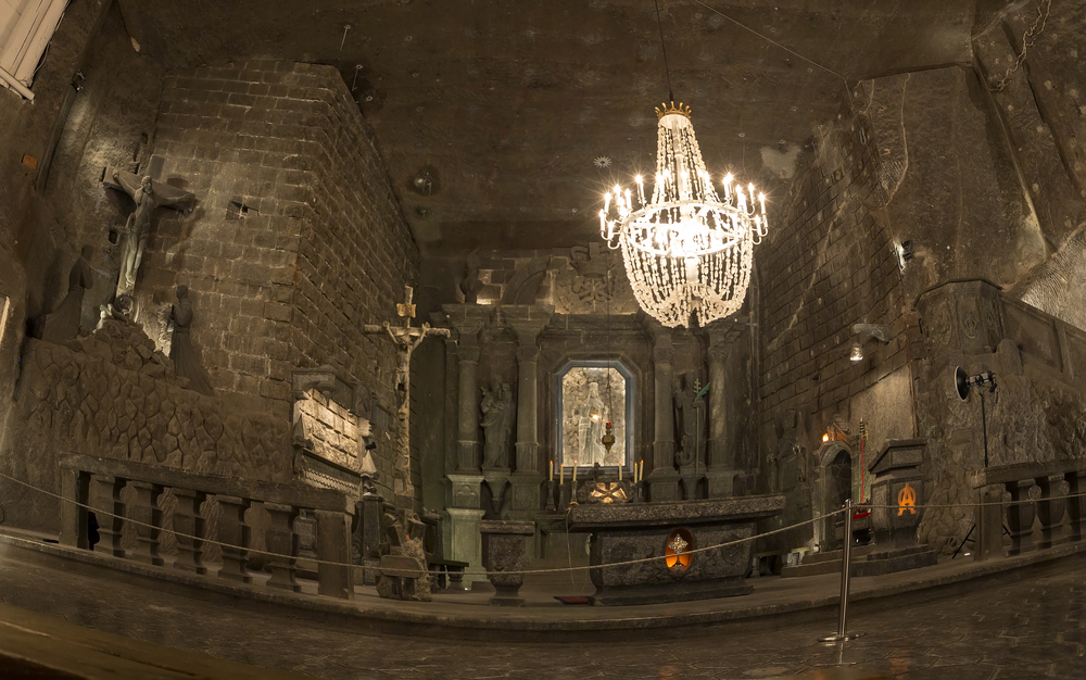 The magnificent underground Chapel in the Wieliczka Salt Mines in Poland