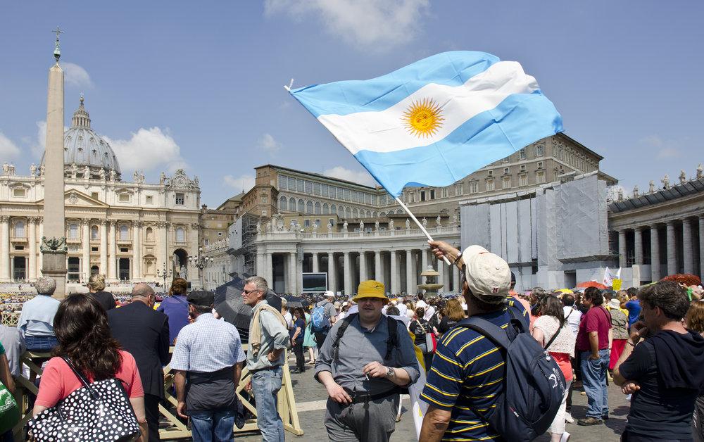Pilgrims outside the Vatican