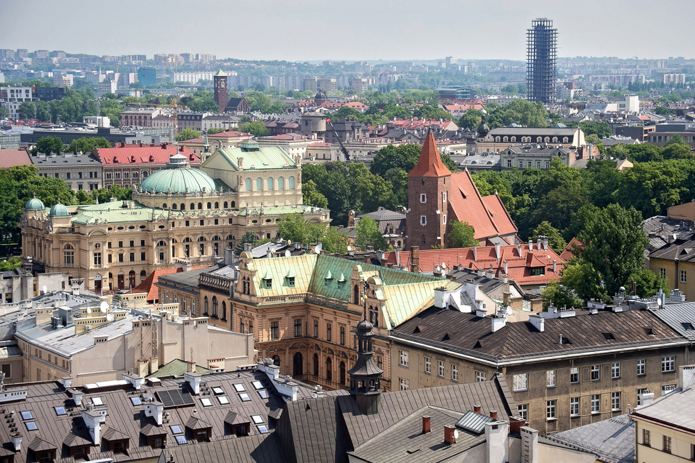 Poland, Aerial view of the roofs of houses in the historic part of Krakow with church of the Holy Cross and other buildings. Poland.jpg