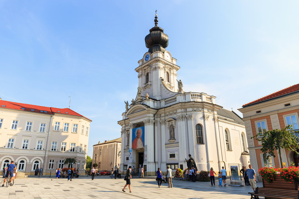 Poland, Wadowice - September 07, 2014- Tourists visit the city center of Wadowice. Wadowice is the place of birth of Pope John Paul II.jpg