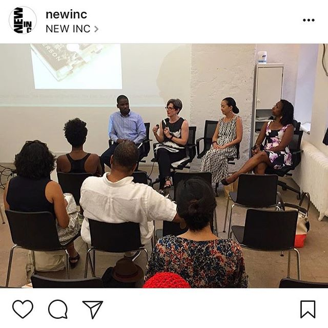 "Repost from @newinc: #RobertaUno contemplates: ""What does it mean to be invited to a place?"" MoMA's @leah_dickerman asks: ""How can we speak about racial history in our museums? Certain things that are not marked and commemorated? How can we try to do something that puts that history back into the museum?"" These legendary powerhouses, along with #GaryPadmore and @bombazodanceco, tackle the limits and opportunities that curators encounter in the work involved in responsibly presenting (and representing) the works of artists of color.  We are thrilled and honored to host @elnya_'s #CuratingColor panel discussion this month. Special thanks to Eun Lee, for putting this together, and to our own ✨ @rasupreme ✨for bringing it home."