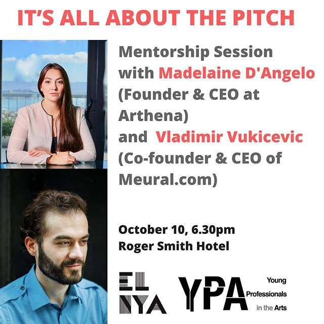 Join our mentorship session on pitching ideas & projects in the arts & cultural sector next Tue Oct 10 @rshotel 💡tkts $10 on elnya.org & rogersmith.com