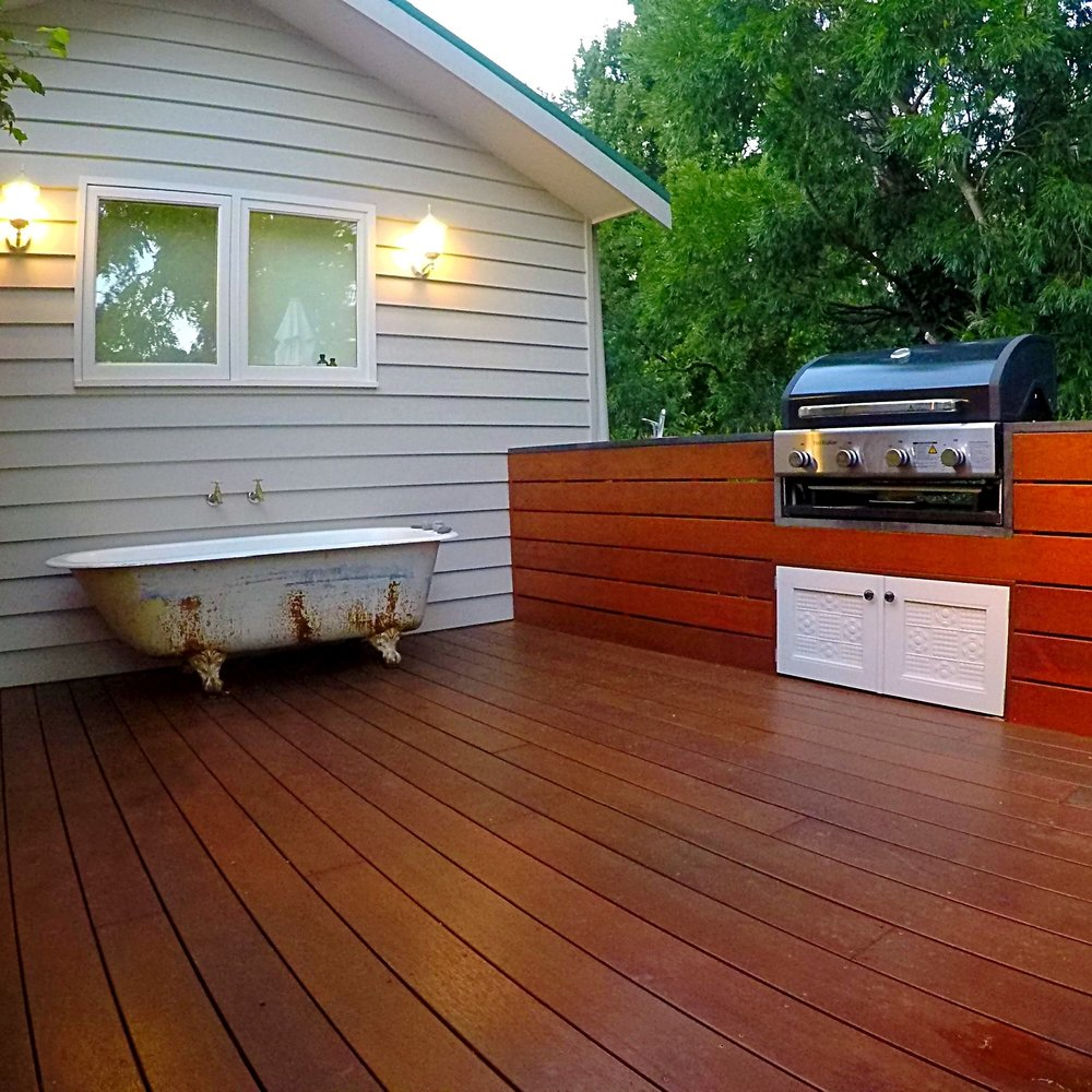 Outdoor BBQ with merbau decking