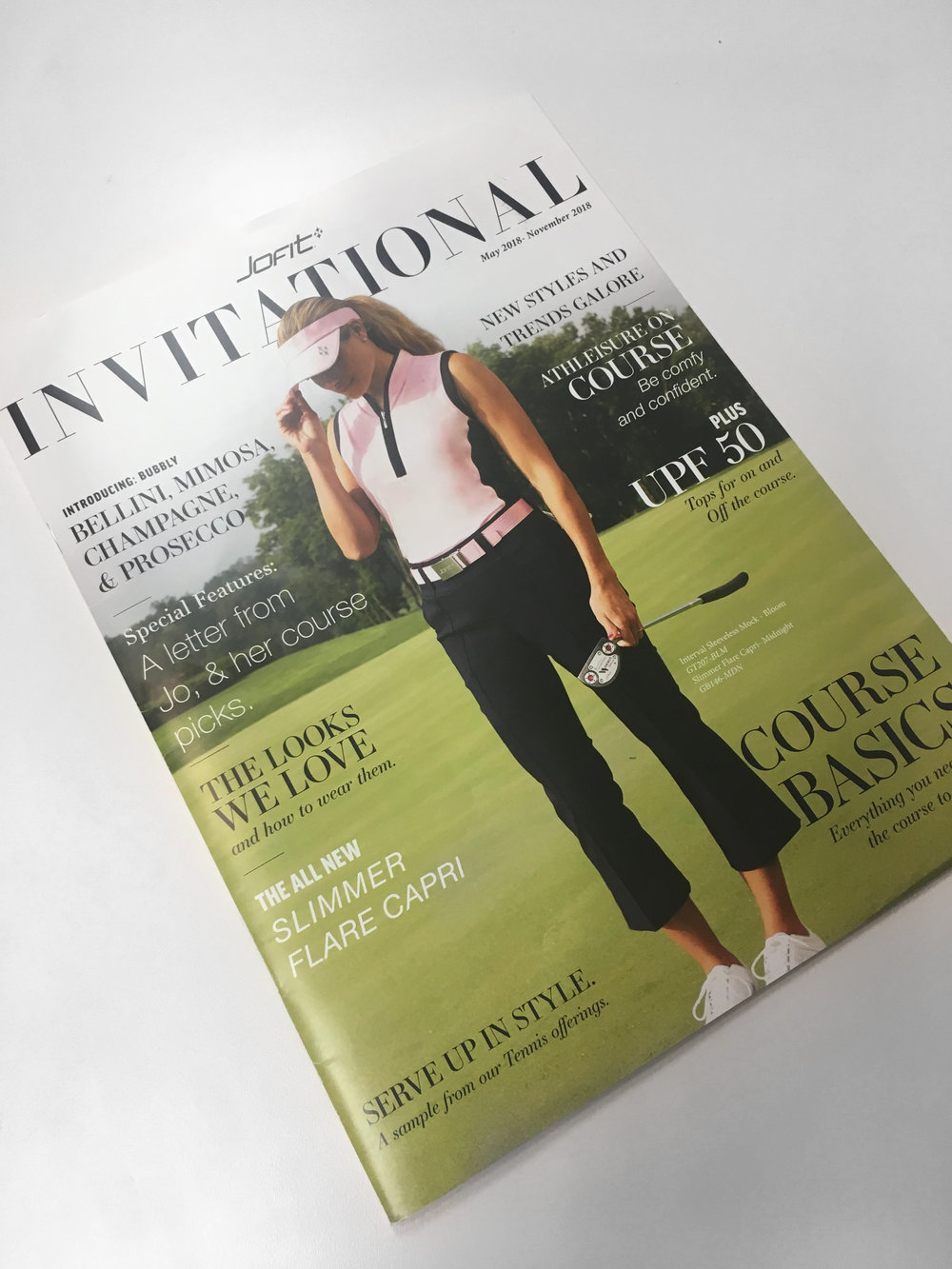 THE INVITATIONAL - To the left is a catalog I designed as a wholesale tool for our sales representatives. It contains images, descriptions, and key selling features for Jofit's 2018 collections titled,