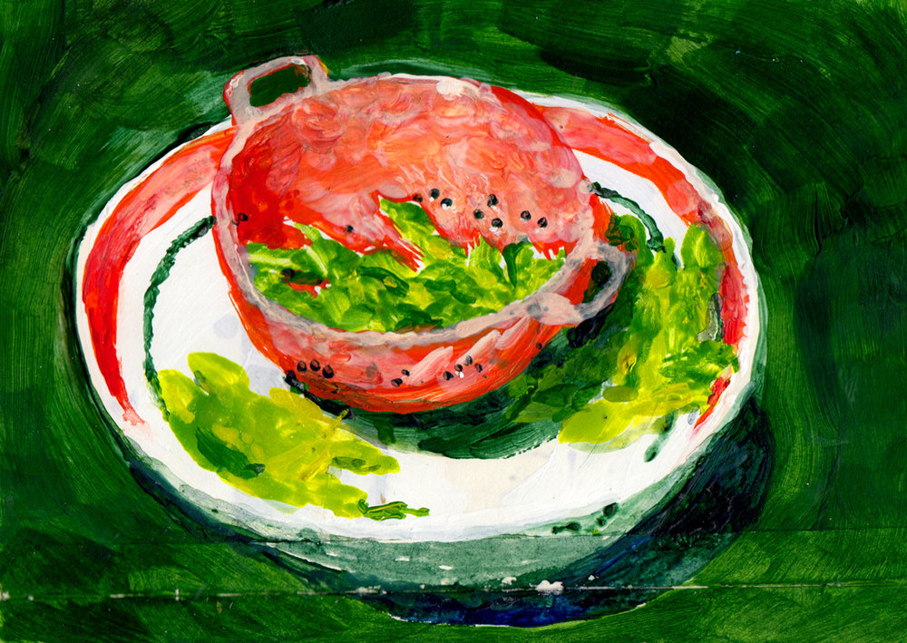 Sketchbook painting of my favourite bowls and snack