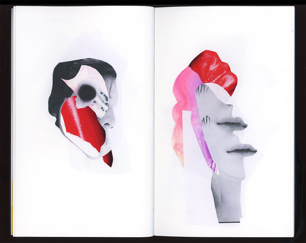 """Facial Collages with Red  10 x 17"""", cut paper Ongoing collage experiments, with painted paper and magazine cutouts"""