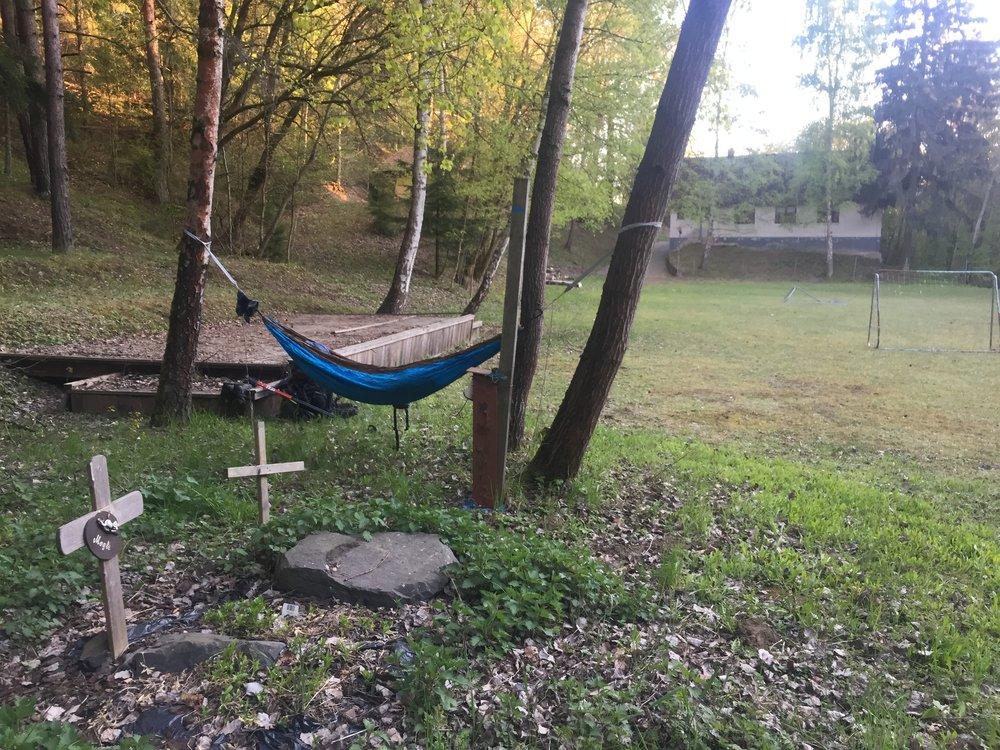 Sleeping next to kitty graves.