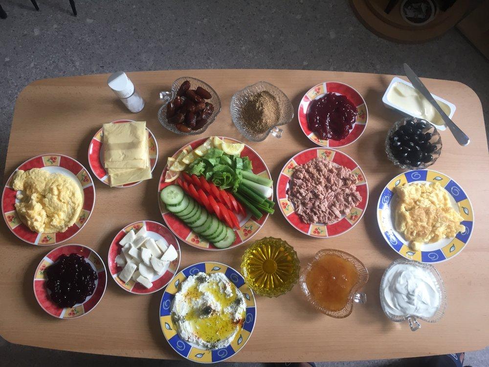 An amazing Syrian style breakfast.