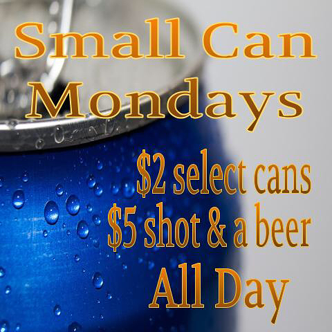 Small Can Monday's with Russ and Simone! $2 select cans of beer $5 select shot and a beer specials!  All day until close. #osidepier #osidebeer #mondayfunday #firewatersaloon