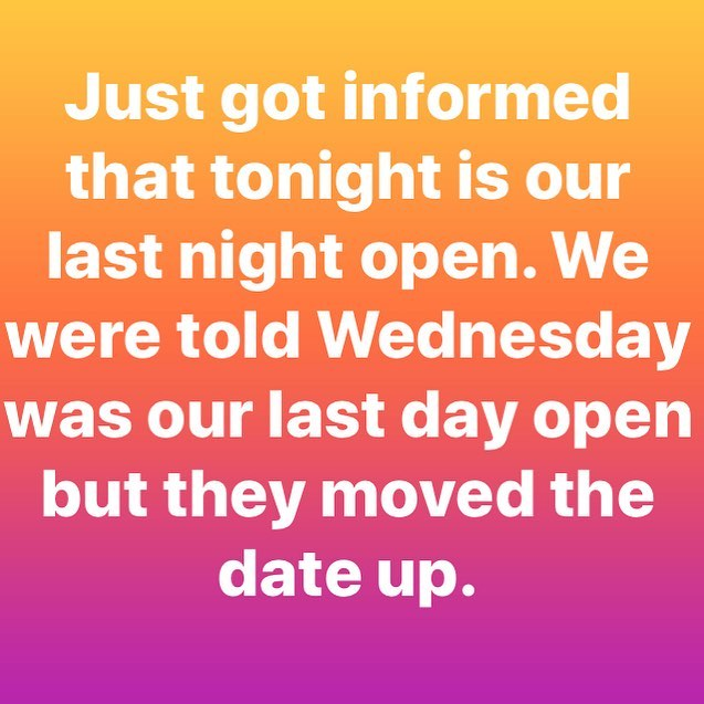 They told us they were closing us on Thursday but just got notice ABC officers will be shutting us down tomorrow morning instead. I'm sure it will be a spectacle. Tonight is your last chance to have a drink at Firewater. We have kegs to kill and drink specials on everything. Come hang with us one last time 😢 #gentrificationinprogress #closingtime #onelastdrink #scarletletter
