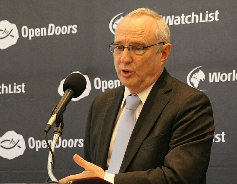 David Saperstein, U.S. ambassador-at-large for international religious freedom, speaks at a news conference announcing Open Doors' annual World Watch List on Jan. 13, 2016, in Washington. Religion News Service photo by Adelle M. Banks