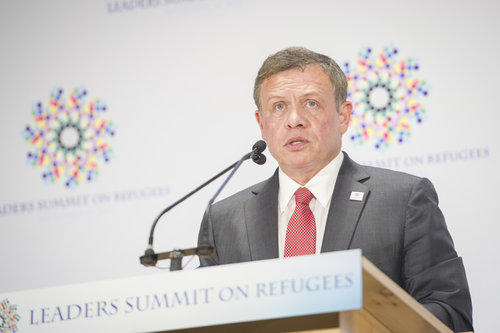 King Abdullah of Jordan addresses the Leaders Summit on Refugees at the United Nations Sept. 20, 2016. Credit: UN Photo/Rick Bajornas.