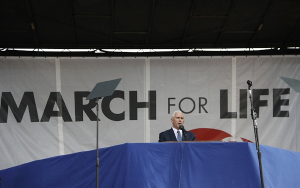 Vice President Mike Pence speaks at the March for Life on the National Mall in Washington, Friday, Jan. 27, 2017. (AP Photo/Manuel Balce Ceneta)