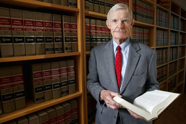 FILE - In this Nov. 4, 2015, file photo, Judge William Canby is photographed in his office in Phoenix, Ariz. Canby is one of three judges on the San Francisco-based 9th Circuit Court of Appeals deciding whether to reinstate President Donald Trump's travel ban. (AP Photo/Ross D. Franklin, File)