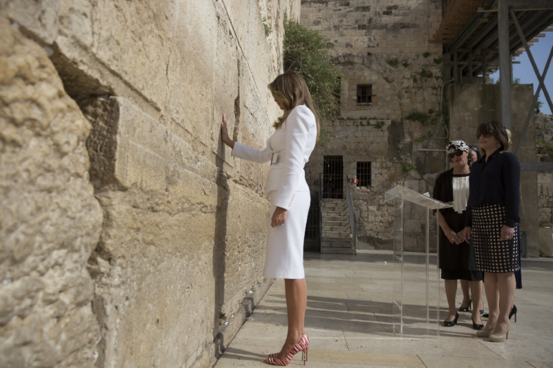 Melania Trump touches the Western Wall, Judaism's holiest prayer site, in Jerusalem's Old City Monday,May 22, 2017. (Heidi Levine, pool via AP)