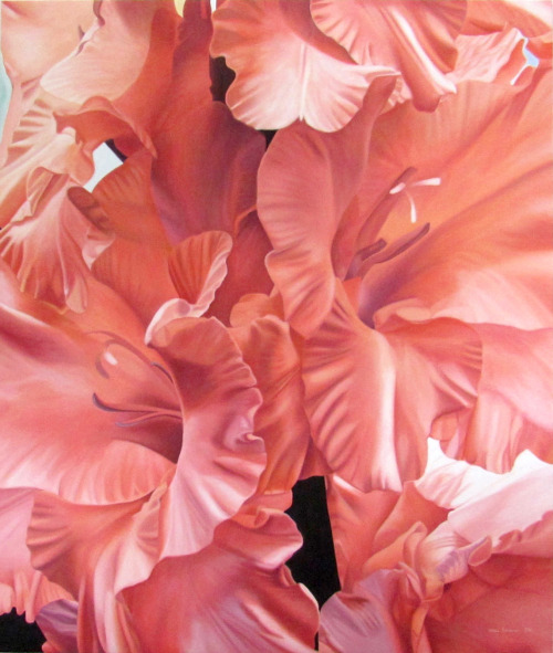 PEACH LILIES by Erika  Oil on Canvas  121.5cm x 143cm