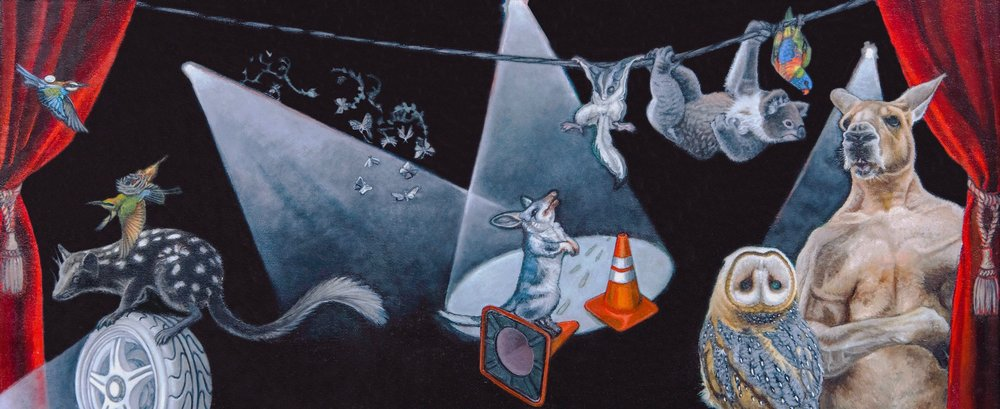 An Involuntary Circus , oil on board, 26 x 56cm