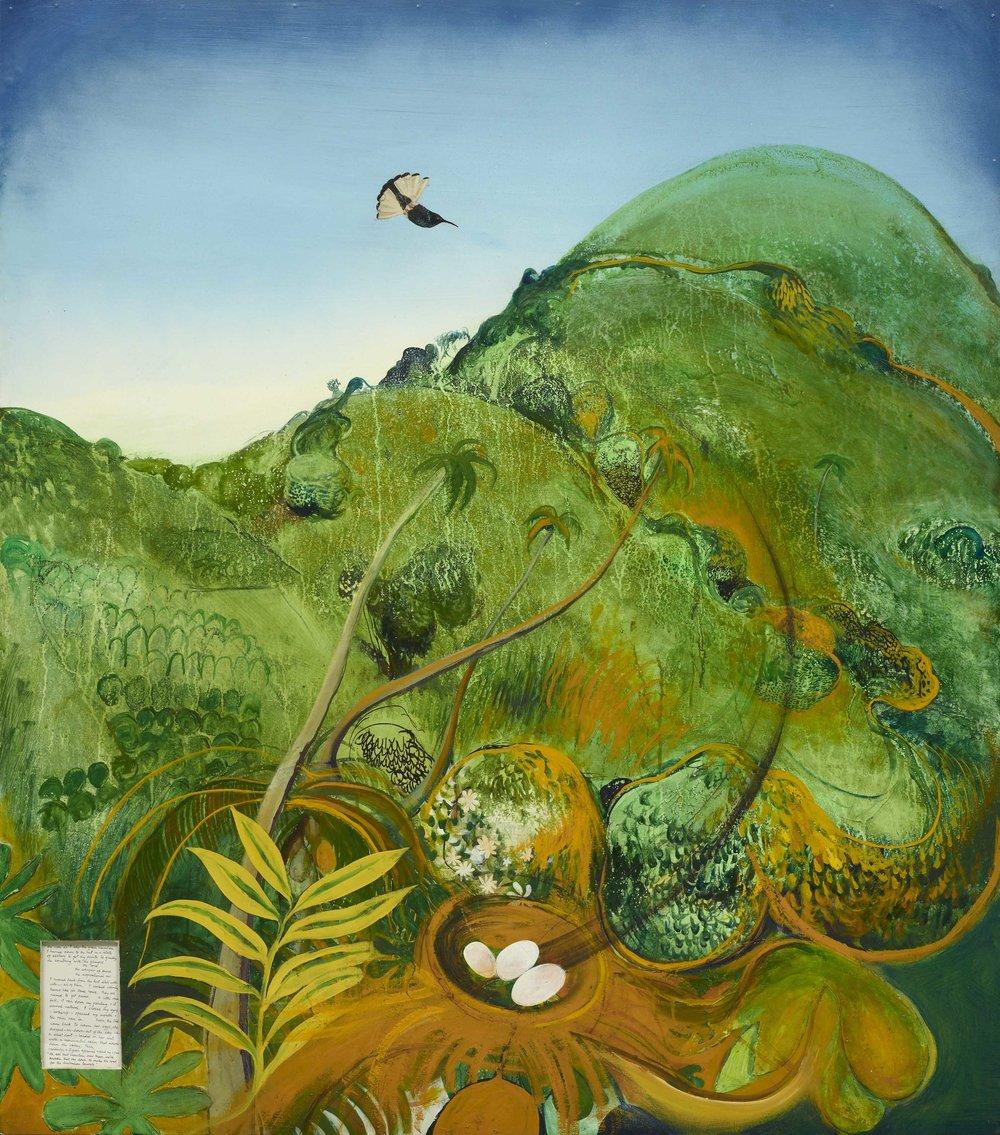 Brett Whiteley,  The green mountain (Fiji)  1969, oil, collage on cardboard, 137 x 122 cm