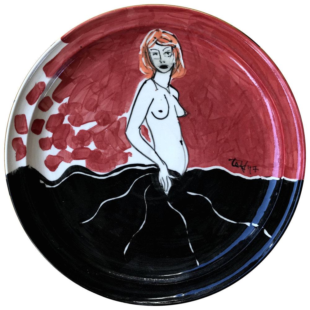 Black Dress #3, 31x2.5cm, ceramic platter 2017.jpg
