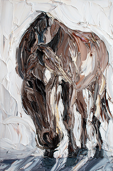 Jodie Wells , Gentle Observation - Brown Horse    2017, oil on canvas, 80 x 53 cm