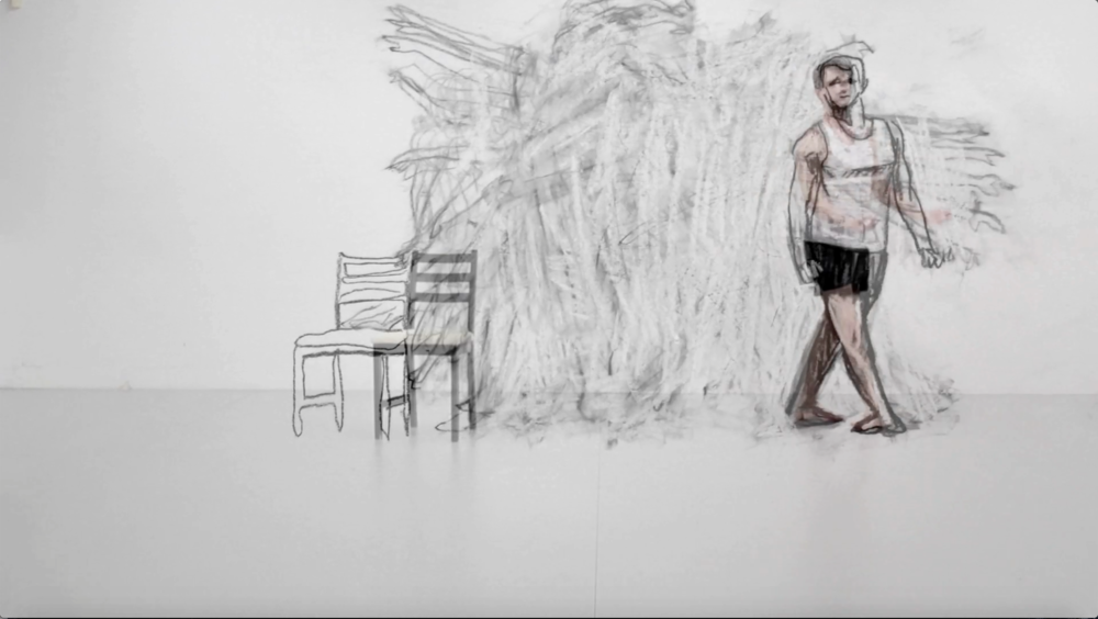 Todd Fuller ,  Billy's Swan   2017, video still, chalk and charcoal animation and video, 5:37 mins, courtesy the artist and MAY SPACE, Sydney