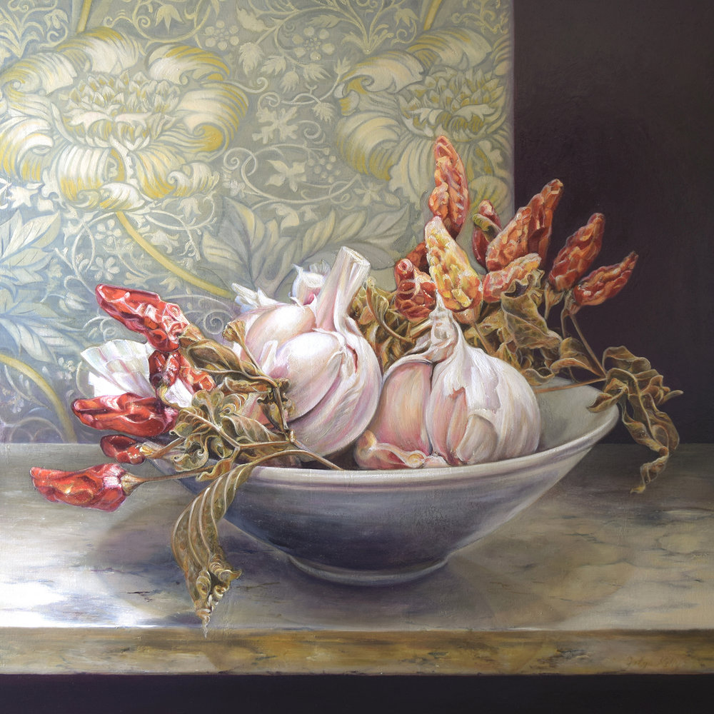 Red Chilli, Rose Garlic.  2014. Oil on canvas, 91cmx91cm.
