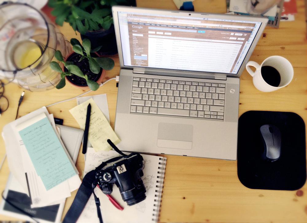 creative office desk space
