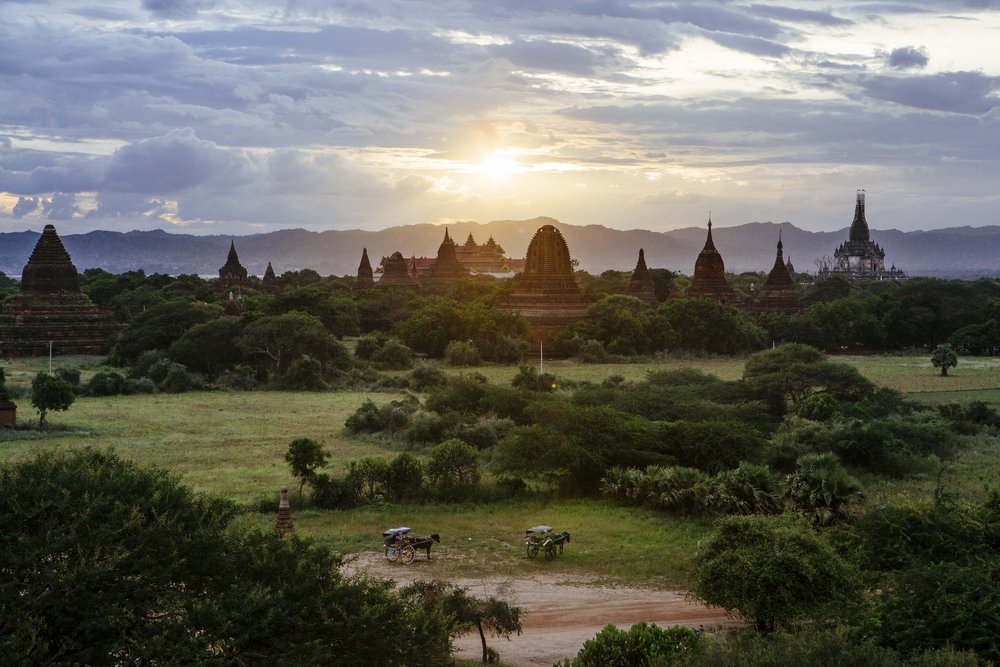Sunset over the famous pagodas at Bagan. Several have scaffolding on the outside, part of a restoration effort that began after earthquake damage in 2016.