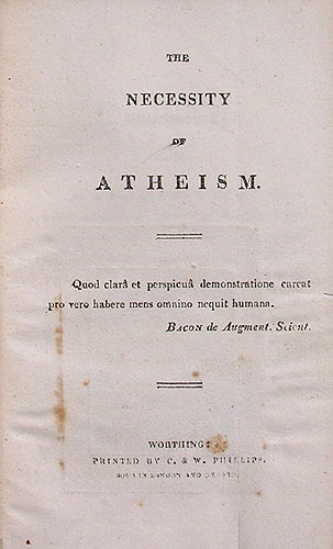 "Shelley's pamphlet, ""The Necessity of Atheism"""