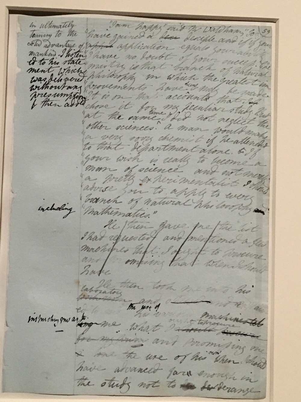 Page from the manuscript of Frankenstein showing extent of collaboration between Mary and Percy. Percy's edits, additions and emendations are in darker ink. (On display at the Bodleian).