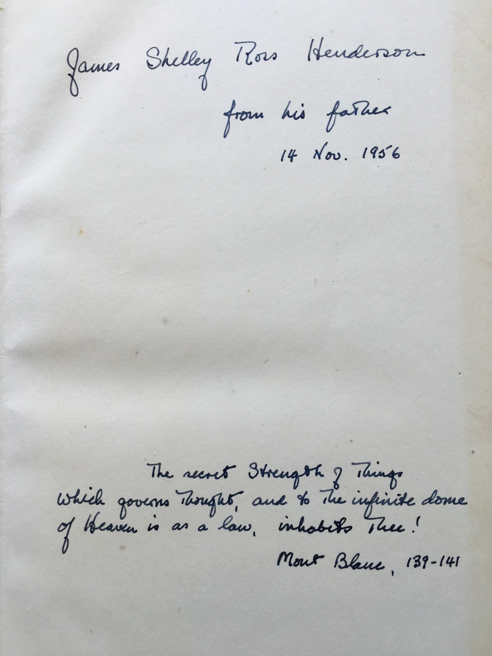 Inscription to my brother in Hutchinson's Collected Works of Shelley