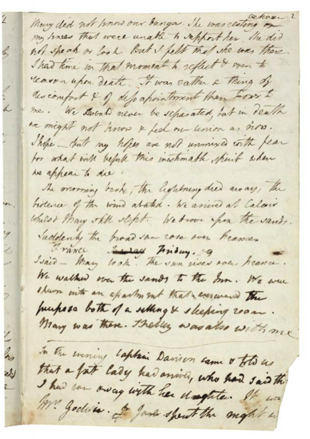 A page from Mary Shelley's journal (1814) showing both Mary and Percy's hands. Bodleian Library, Oxford.