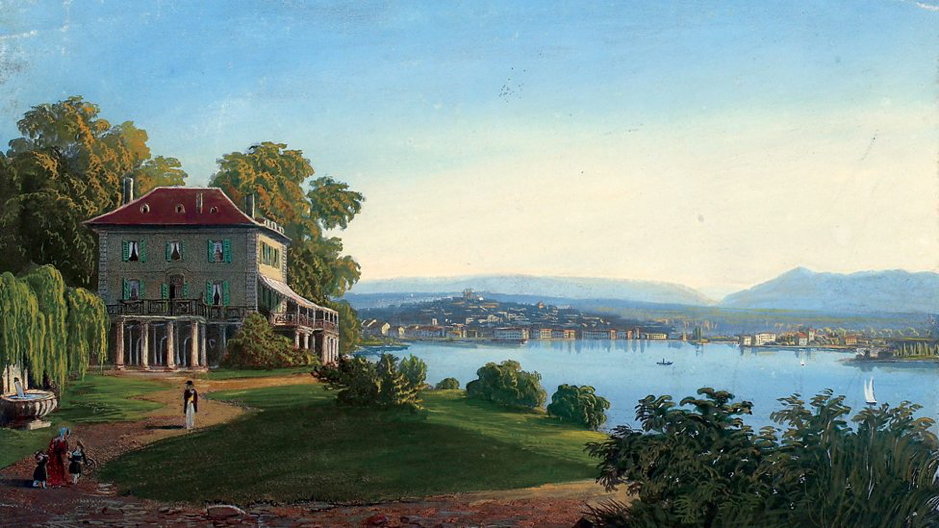 Cologny, view of Geneva from the Villa Diodati    by Jean Dubois, late 19th century / Centre d'iconographie genevoise, Bibliothèque de Genève