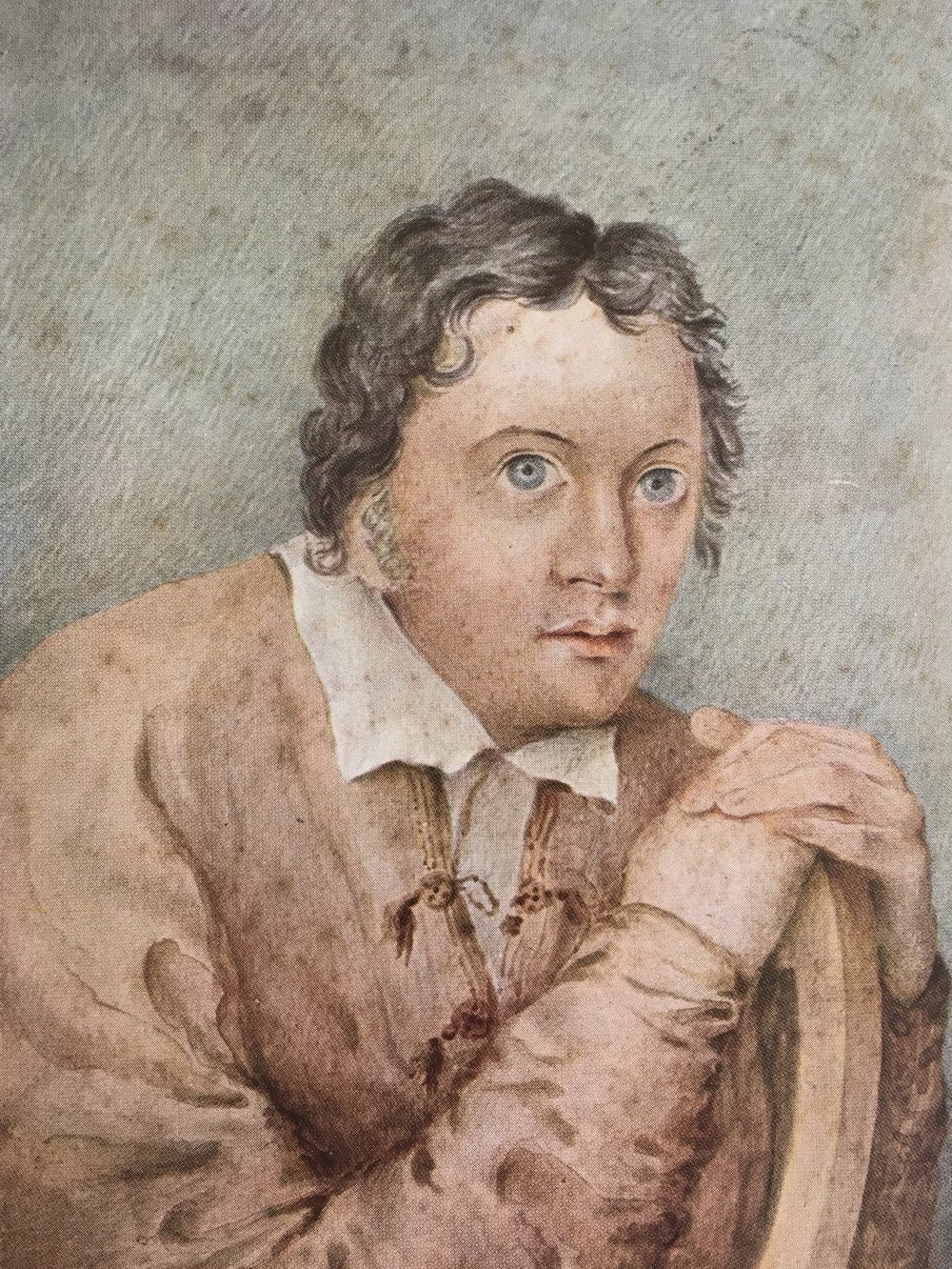 A drawing of Shelley by Edward Williams.  Some think it unflattering, but it is thought by many to be the most true to life image of Shelley in existence. It has none of the child-like qualities of the other paintings.