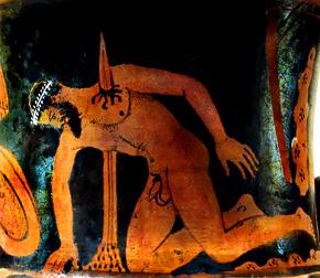 Depiction of Aias' suicide.