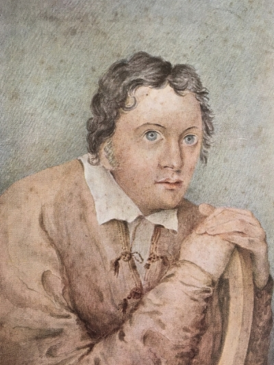 Sketch of Percy Bysshe Shelley by Edward Williams. This drawing most closely resembles Leigh Hunt's late-in-life description of him.