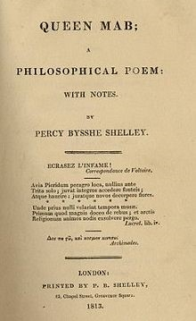 From the 1813  Queen Mab edition published by Shelley himself. Foot no doubt has a beautifully bound copy from a later time.