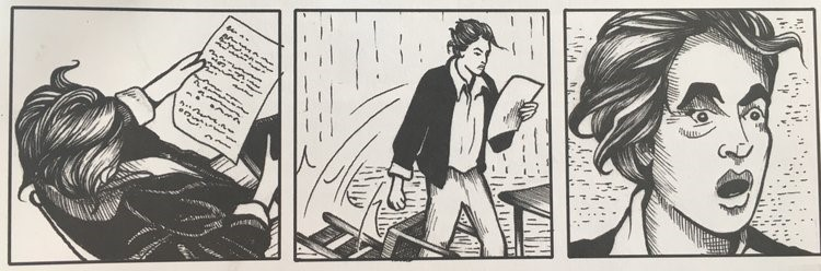 Images from Michael Demson's  Masks of Anarchy . Here we see Shelley reacting to the news of Peterloo. Buy this amazing graphic novel  here .