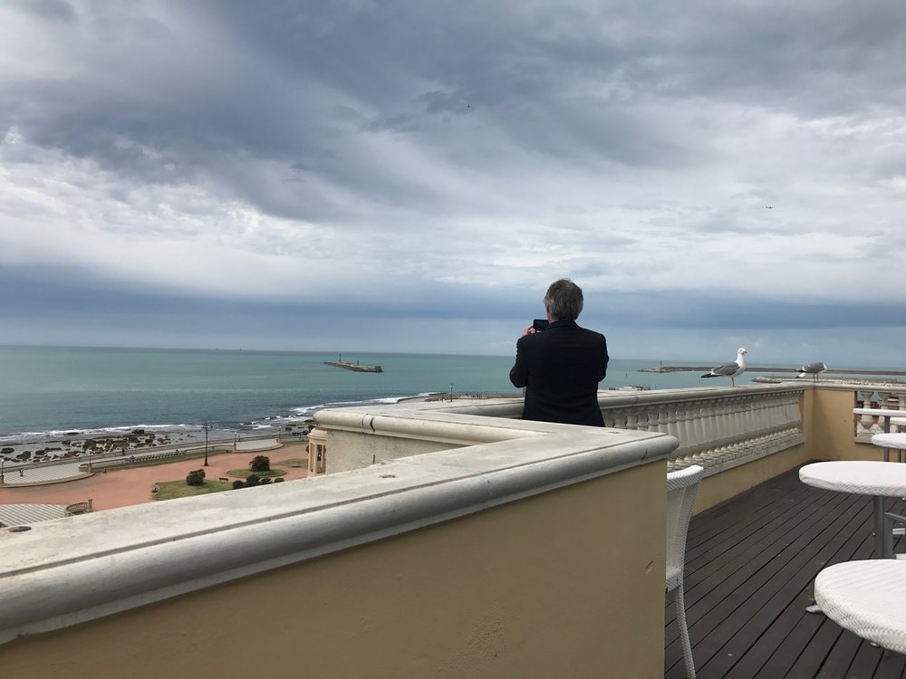 Gazing out to sea at Livorno in May, 2017. Shelley sailed from here to his death. Just as on that day in 1822, the sky was brooding and storms threatened. It was an eerie moment.