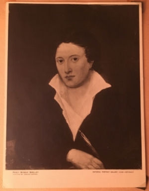 Amelia Curran's 1819 portrait of Shelley which hangs in the  National Portrait Gallery