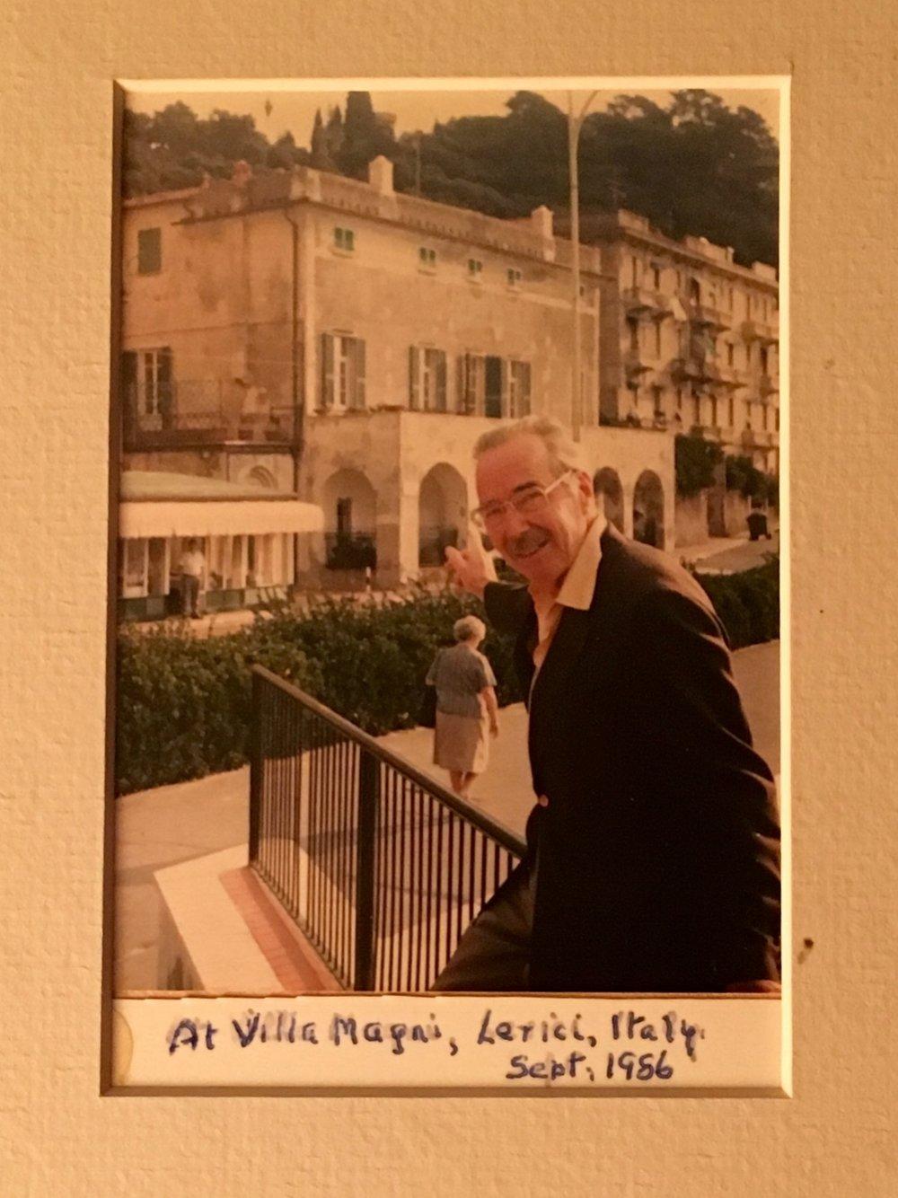 Larry Henderson at Casa Magni, Lerici, Italy, September 1986