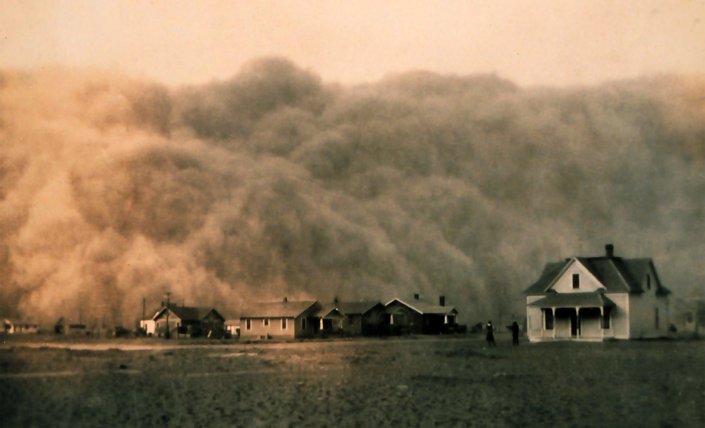 Dust storm approaching Stratford, Texas, 1935